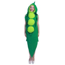 grünes gesamtkleid Rabatt Halloween Bühne Erbse Kleid Leistung Weihnachtsfeier Frauen Kopf tragen Cosplay Kostüm Essen Erbse unregelmäßigen Kleid Overall grün Set