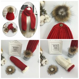 Wholesale Wholesale Ladies Winter Scarves - High Quality Winter Hats ,Scarves & Gloves Sets 6 Colors Tide Winter Pearl Wrap Warm Hat Lady Knit Cap YYA1017