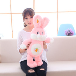 Wholesale pink stuffed bunny - Stuffed Plush Rabbit Toy 35in. Bunny Animals Toy with Carrot Pink Soft I LOVE U Rabbit Bunny Plush Toy for Kids