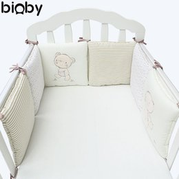 Wholesale Cot Bumpers - 6Pcs Set Baby Infant Cot Crib Bumper Safety Protector Toddler Nursery Bedding Set Baby Protection Cushion Pad Care Supplies
