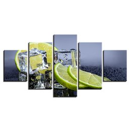 Wholesale fruit framed art - Canvas Prints Pictures Kitchen & Restaurant Wall Art Frame 5 Pieces Fruit Lemon Ice Cubes Paintings Home Decor Food Drink Poster