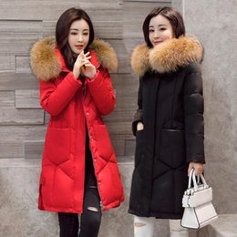 Wholesale Womens Real Fur Jacket - Natural Fur collar Womens Winter Jackets Coats Thick Warm Hooded Down Parkas Women Winter Jackets Female Real Fur Winter Coat