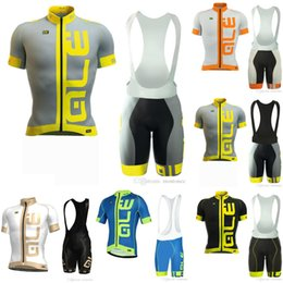 Wholesale road bicycle shorts - ALE team Jerseys Set Bicycle Tour Road Racing Cycling Short Sleeves jersey (bib) shorts sets summer bike ropa ciclismo hombre E60804