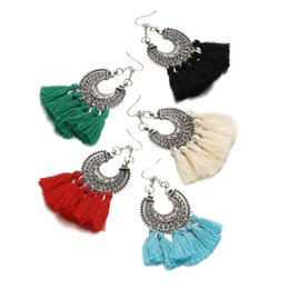 Wholesale tassel braiding - Wholesales 9.1cm Vintage 5 Colors Cotton Tassel Drop Earring Resin Gemstone Chandelier Bohemia Punk Ethnic Alloy Braid Dangles