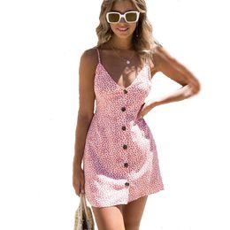 Wholesale blue dot dress - Summer Dress 2018 Sexy Women Floral Print Spaghetti Strap Backless A Line Dress Beach Casual Short Dresses