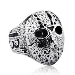 Панк-рок старинные прохладный Джейсон Маска кольцо ювелирные изделия 316L нержавеющая Титановая сталь персонализированные готический череп кольцо размер 7-14# от Поставщики персонализированные маски