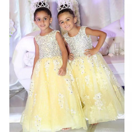 Wholesale Luxury Party Dresses Girls - 2018 Princess Beaded Yellow Flower Girl Dresses A Line Crew Neck Luxury Kids Girls Pageant Dress Formal Wears For Weddings Party Gowns