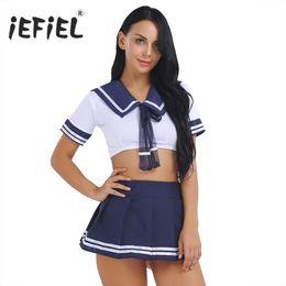 2019 sexy mini falda cosplay 2PCS Womens School Girls Cosplay Traje  Marinero Uniforme de Manga Corta 980896dc32af