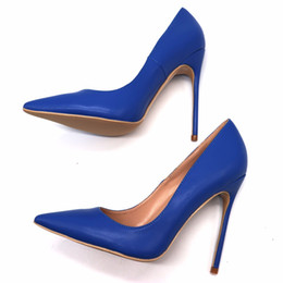 Alti tacchi opaco azzurro online-Free Shipping women sexy lady woman 2019 royal blue matte leather Poined Toes Wedding heels Stiletto High Heels shoes pumps 12cm 10cm 120mm