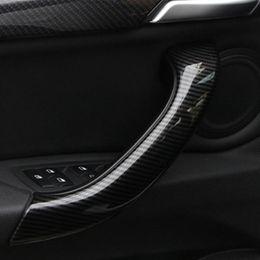 2019 x1 kohlefaser Carbon Fiber Style Auto Innentürgriff Dekoration Abdeckung Für BMW X1 F48 2016-18 ABS 4 stücke Auto Innen Modifiziert Styling rabatt x1 kohlefaser