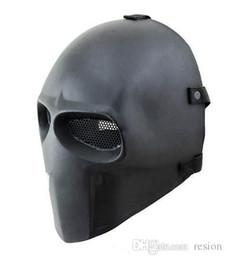 casco del ejército de airsoft Rebajas Comercio al por mayor 2016 Nuevo Ejército Vendedor de Dos Máscara de Fibra de Vidrio Airsoft Paintball Casco Negro Envío gratis