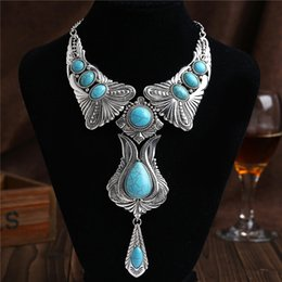 Wholesale Ethnic Fashion Jewelry China - Fashion Tassel Necklace Ethnic Accessories Bohemian Necklace Symmetrical Synthetic Stone Pendant Choker Necklace Women Jewelry