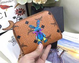 7ed653224 Carteras de lujo monedero Nuevo coreano tres veces 3D billetera de conejo  Carteras de diseñador Nueva marca de impresión Cartera de cuero Moda  Hombres ...