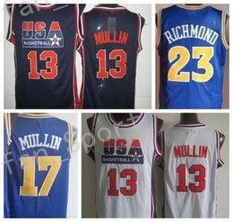 Wholesale Dream Team Usa Shirt - Retro 17 Chris Mullin Throwback Jerseys USA Dream Team Retro 23 Mitch Jason Richmond Shirts Uniforms Rev 30 New Material Stitched With Name