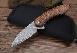 Wholesale Wood Black Bear - Wood handle Damascus steel Bearing Flipper knife EDC Outdoor Gift knives Collection knife With Black sheath Pocket Utility tool Dropshipping