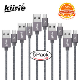 Cable micro flex online-Cables micro USB Kiirie Cable de carga usb universal duradero 5Pack 1x0.5m 3x1m 1x1.5m 6000+ Flex Lifespan Nylon Trenzado Android Cargador de cable