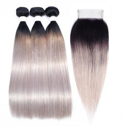 Spitzenverschluss grau online-T 1B Weiß Grau Ombre Gerade Menschenhaar-Bundles mit Verschluss Farbige Brasilianische Haarverlängerung 2/3 Bundles mit Spitzenverschluss