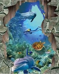 2020 pinturas de delfines HD 3D tridimensional del mundo marino Delfín baldosas pintadas 3D Suelo Decoración Pinturas papel tapiz impermeable pinturas de delfines baratos