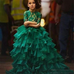 Wholesale Christmas Petite Dresses - Junior Pageant Dresses 2018 Free Shipping Robe Petite Fille D'Honneur Ball Gown Emerald Green Flower Girl Dresses with 1 2 Long Sleeves