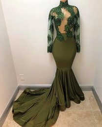 Wholesale Gold Fishtail Prom Dresses - High Neck Olive Mermaid Prom Dress Sexy See Though Appliques Beaded Long Sleeves Evening Dress Fishtail Special Occasion Formal Gown