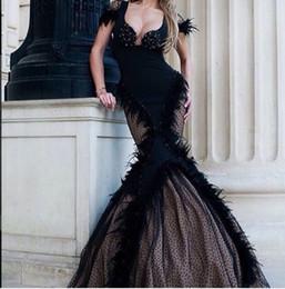8cc5b4622db79 Robe de soirée Yousef aljasmi Robe longue Mermaid Noir Scoop Sans manches  Tulle Perlé Cristal Plume Labourjoisie kim kardashian Myriam Fares