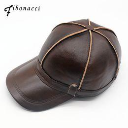 5d72a3f5f92 Fibonacci High quality middle aged men s genuine leather baseball cap  autumn winter cowhide 6 panel adjustable ear flap dad cap