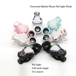 Wholesale Led Special Effects Lighting - WQ-09 Universal Mobile Phone Flash Cute LED Fill light 2 Levels Of Light + Special Effect Lens For Iphone Samsung Huawei Xiaomi