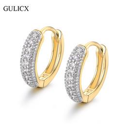 1c0efce36a2d9 Toda vendaGULICX Moda Círculo Brinco para As Mulheres de Ouro-cor Brincos  de Argola Pave Cristal CZ Branco Pedra Declaração de Jóias E114