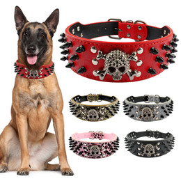 """Wholesale cool pet collars - 2 """"Wide Spiked Studded Leather Dog Collar Bullet Rivets With Cool Skull Pet Accessories For Meduim Large Dogs Pitbull Boxer S -Xl"""