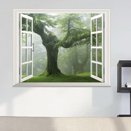 Etiquetas verdes da parede da floresta on-line-Verde velha Floresta Tree 3D Window View decalque da parede decoração adesivo de parede árvore de grande Viver parede da sala Etiqueta Início DIY Decal