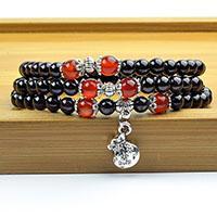 natürliche granat perlenkette Rabatt 5-6mm GradeA Natürliche Granat Perlen Armband Tibetisch-buddhistischen 108 Gebetskette Halskette Kürbis Mala Gebet Armband für Meditation