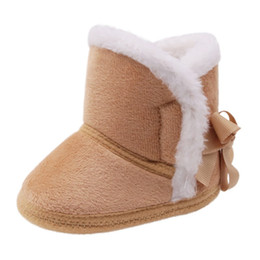 Canada 2018 New Solid Couleur Laced Bottes En Coton Chaud Infantile Bébé Bébé D'hiver Chaussures Bébé Toddler Chaussures Garçon D supplier infant lace shoes Offre