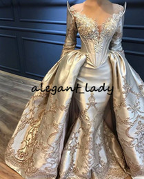 sheer feather prom dress Coupons - Luxury Lace Beadwork Evening Formal Dresses with Detachable Train 2019 Sheer Jewel Neck Puffy Skirt Mermaid Long Sleeve Prom Gown