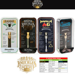 Più recenti e cigs online-Il più nuovo Connected Abracadabra Brass Knuckles OG Cartridges 21 Flavor Stickers Vape Dual Ceramic Cotton Bobine Pyrex Glass e cigs Vapor Tank