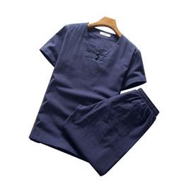 Sola ropa más tamaño online-P Summer New Cotton Camisa de manga corta de linoPant Men Plus Size Sólido con cuello en v Suelto Koping de un solo pecho Conjunto M-5XL