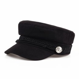 Wholesale military wool beret - Fashion Solid Visor Military Hat Autumn and Winter Vintage wool Patchwork Beret Cap For Women England Style Flat Cap