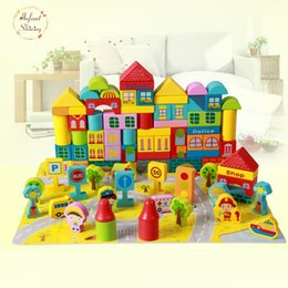Wholesale Early Baby - 2017 Wooden Juguetes Avengers Building Blocks 100 Pieces Of Big City Baby Children Early Lessons Child 1-2-3-6 Years Of Age