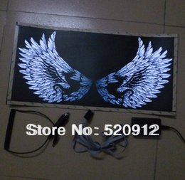 Wholesale Stickers Sound Equalizer - 60*35cm Eagles wings sound active el car sticker equalizer car sticker music rhythm light with inverter free shipping