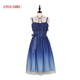 marineblaue hosenträger Rabatt Anime Sweet Marineblau Sternenklar Farbverlauf Fairy JSK Suspender Lolita Kleid