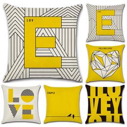 almohadas finas Rebajas Fundas de almohada Cojín de lino Funda de algodón Letra LOVE Funda de almohada geométrica 45X45cm Fino para el dormitorio Decorativo para el hogar
