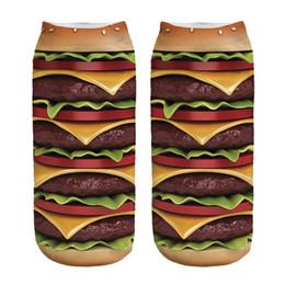 Wholesale Hamburger Man - Wholesale- 1pair 3D hamburger Printed socks Women Men Low Cut Ankle Color Cotton sock Casual Character Short Sock