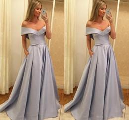 Fuera del hombro Vestidos formales Arco Cinta Espalda abierta Satinado Vestido de fiesta simple Vestidos de noche Vestido de alfombra roja Por encargo desde fabricantes