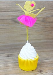 Wholesale Rose Topper - Free Shipping 10Pcs Angel Fairy Rose Yarn Skirt Cupcake Topper Picks Kids Birthday Decoration Cake Insert Card Cupcake Topper