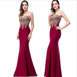 Robe de soirée Longue Sexy Backless Vestido de noche de encaje de sirena roja Apliques baratos Baratos Vestido de noche Vestido de fiesta desde fabricantes