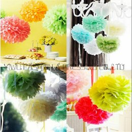 purple yellow baby shower decorations Promo Codes - Sales Promotion 16inch(40cm) 1pc Large Tissue haning paper pompom baby shower paper flowers balls wedding decoration