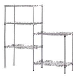 Wholesale Flooring Bathrooms - Changeable Assembly DIY Floor Standing Carbon Steel Storage Rack Silver