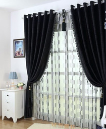 Wholesale Curtains Installation - Thick black and white chenille curtains upscale modern bedroom, living room curtain fabric