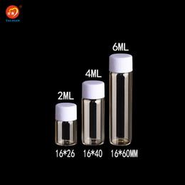 Bouchons à vis en plastique en Ligne-Bouteilles en verre de 2ml 4ml 6ml avec le bouchon à vis en plastique mini-flacons transparents clairs Bouteilles en plastique pots récipients cosmétiques 100pcs