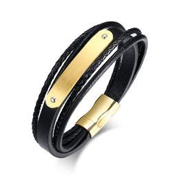 Canada Gravure Gratuite Matt Blanc Plaqué Plaque Cuir Bracelet En Acier Inoxydable Wrap Noir Bracelet Cadeaux pour Hommes Offre