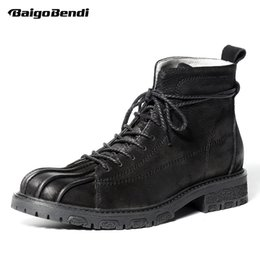 Wholesale trendy leather boots - Retro Genuine Leather Mens Super Warm Snow Boots Round Toe Lace Up Trendy Soliders Ridding Martin Boots Winter Shoes